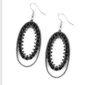 black and hematite drop earrings